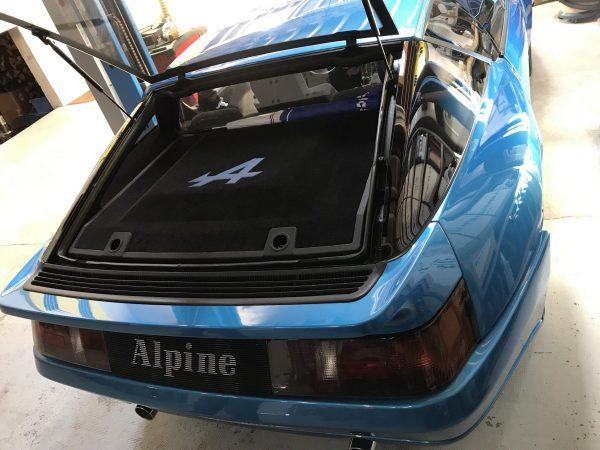 Renault Alpine Berlinette A310 V6GT engine hood resting on your blue black support