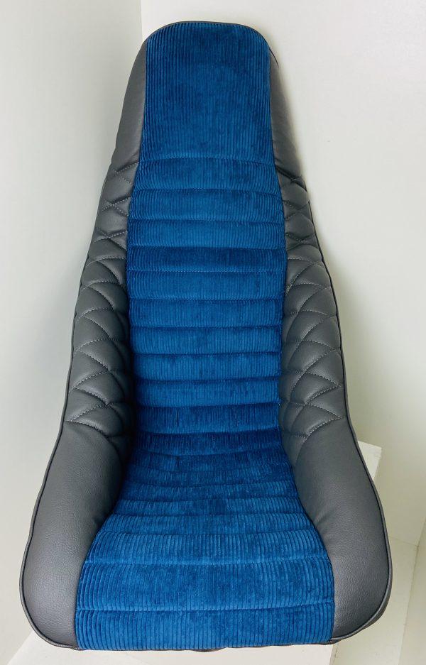Siege Baquet ISA en simili gris et velours côtelé bleu