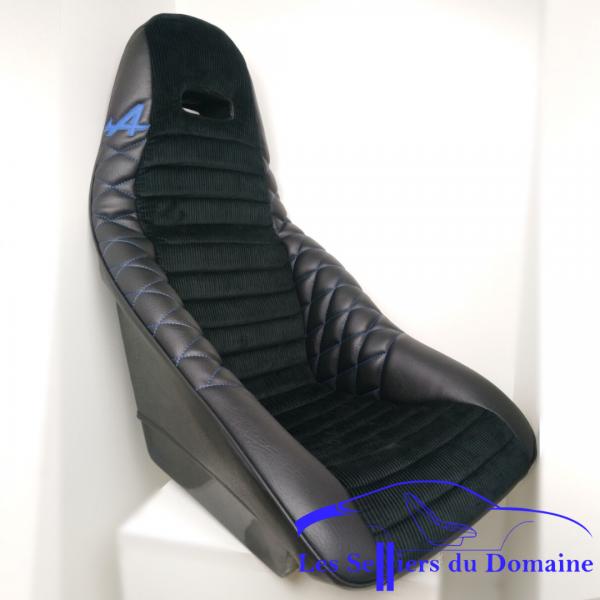 ISA simili velours noir avec ouverture centrale et A en cuir bleu sur le côté