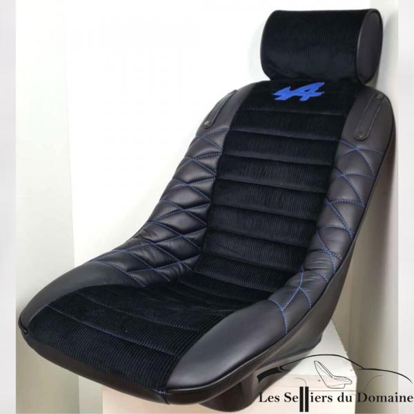 """Baquet Mod plastia PMC AT avec repose tête en simili velours """"A"""" en cuir bleu et patte de fixation harnais"""