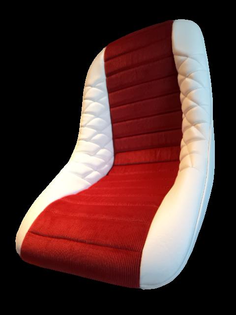 Siège siege alpine renault PMC petit modèle modele classique mod'plastia alpine cuir rouge aseptogyl blanc
