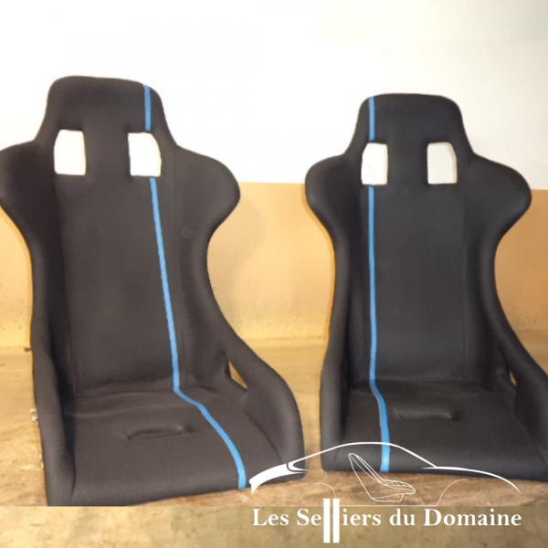 Baquet TDC Noir ligne bleue TOUR DE CORSE TDC Renault 5 Turbo Rallye historique