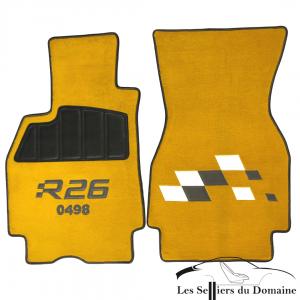 Sur Tapis Megane RS R26 Damiers moquette jaune sirius