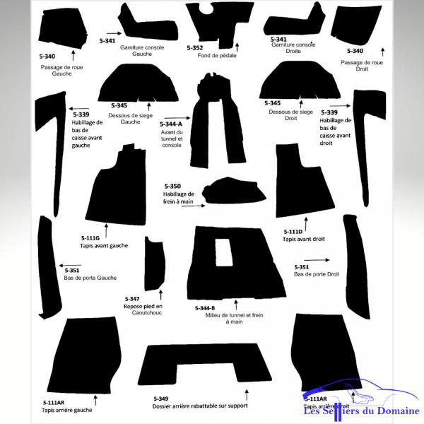 schéma Kit moquettes Alpine A310 4cylindres