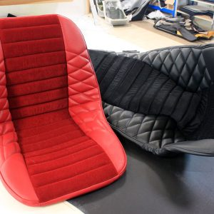 Renault Alpine seat cover velvet faux black leather red mod'plastia