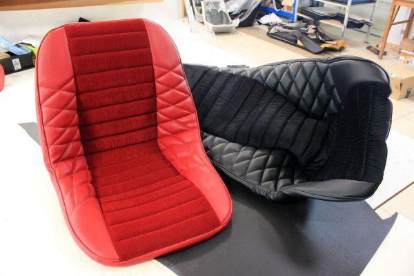 Renault Alpine seat cover velvet faux black leather red mod'plastia