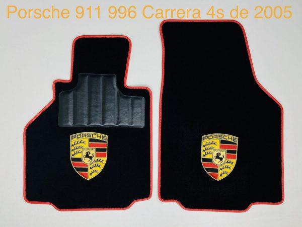 Sur tapis sur-tapis Porsche 911 996 Carrera 4s 2005 avec écussion moquette noire noir rouge