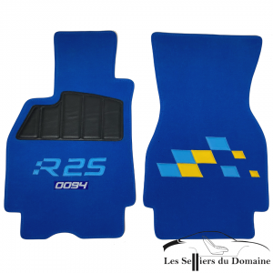On Megane RS R25 Damiers royal blue carpet with embroidered serial numbers